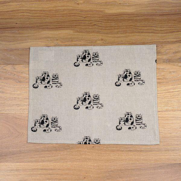 Three cats print linen placemat