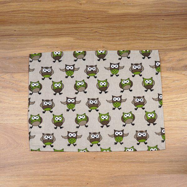 Owl print linen placemat