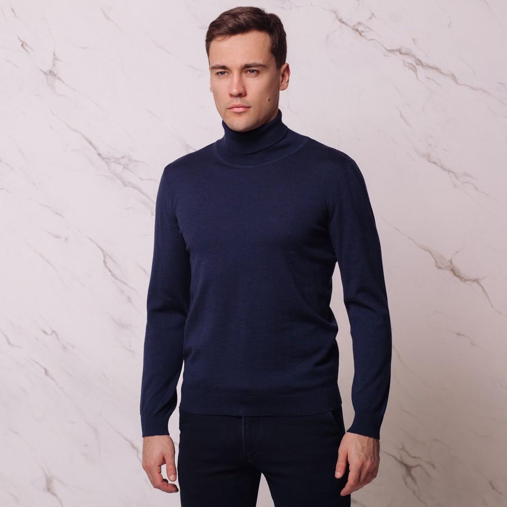Ivan шерстяной джемпер с высоким воротником темно-синего цвета