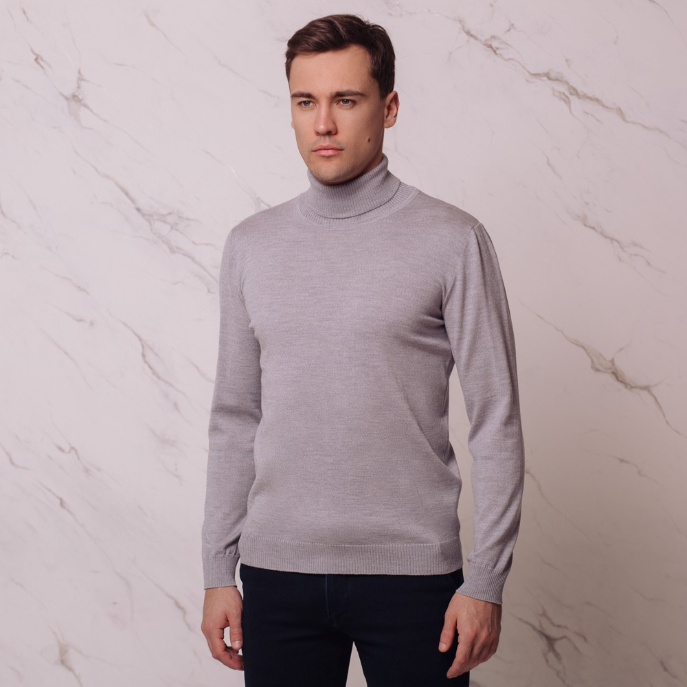 Ivan шерстяной джемпер с высоким воротником серого цвета