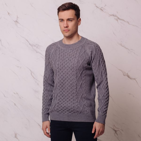 Mattis wool blend cable o-neck gray jumper