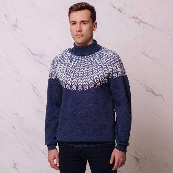 Lars täiesti kootav ilma õmblusteta žakaarne sinine sviiter