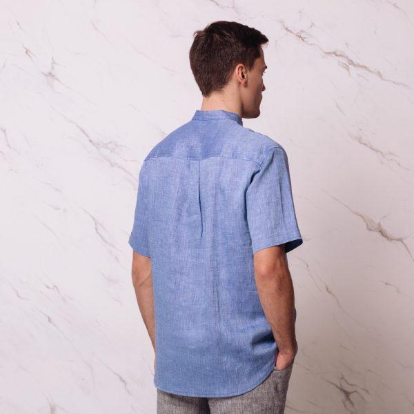 Sergio Linen Short Sleeve Shirt  Blue melange