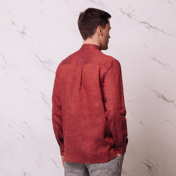 Sorento Linen Relaxed Fit Casual Shirt red melange