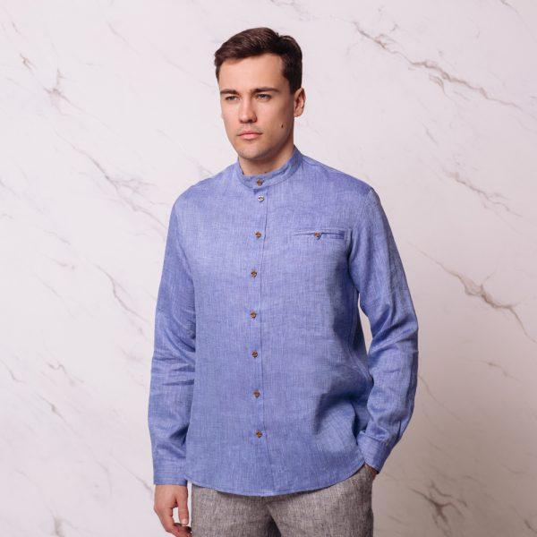 Sorento Linen Relaxed Fit Casual Shirt blue melange