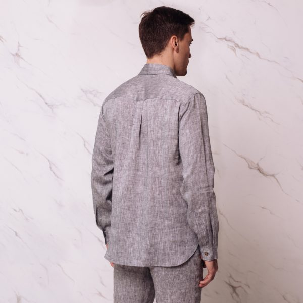 Nelson linen long sleeve relaxed fit casual mens shirt black melange