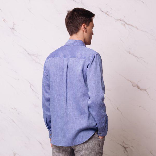 Nelson рубашка из льна с длинными рукавами синий меланж