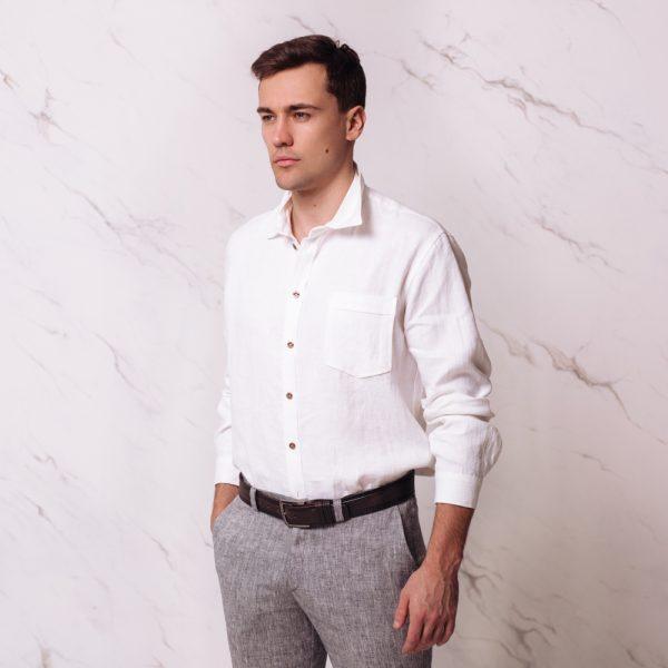 Nelson рубашка из льна с длинными рукавами свободного покроя белого цвета