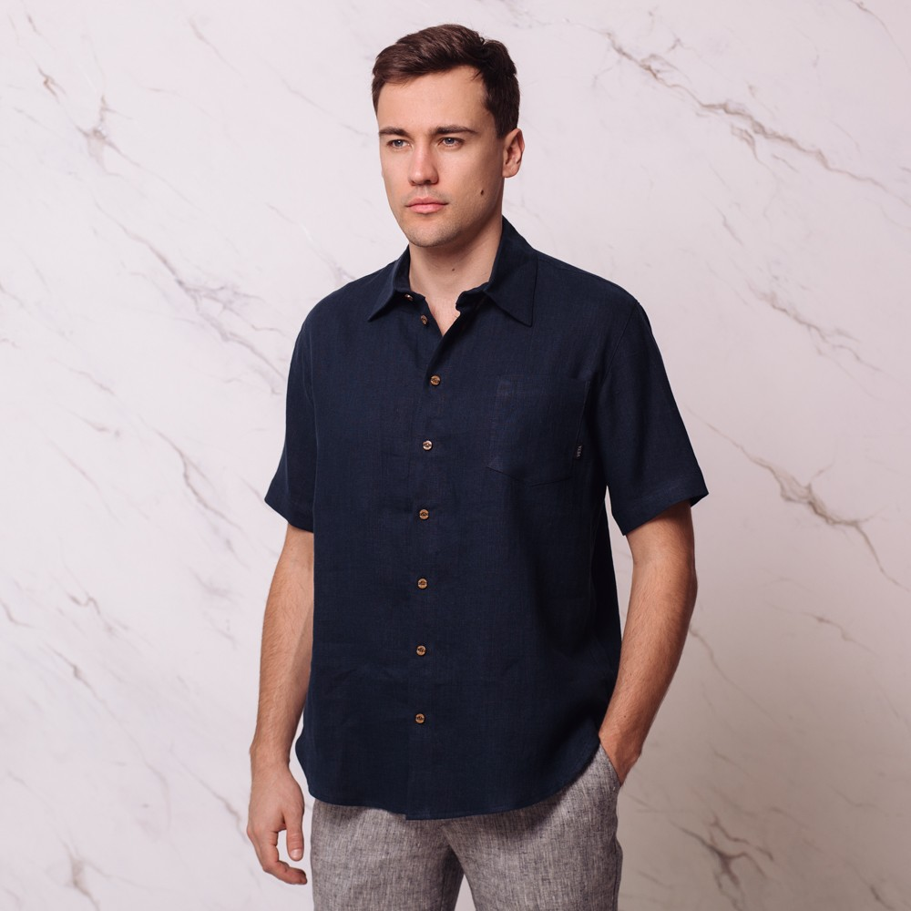Tomson рубашка из льна с короткими рукавами тёмно-синего цвета