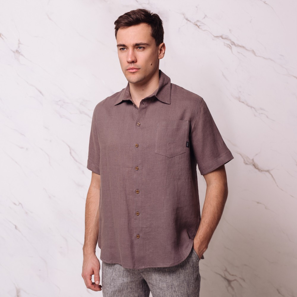 Tomson Linen Short Sleeve Relaxed Fit Casual Shirt Brown