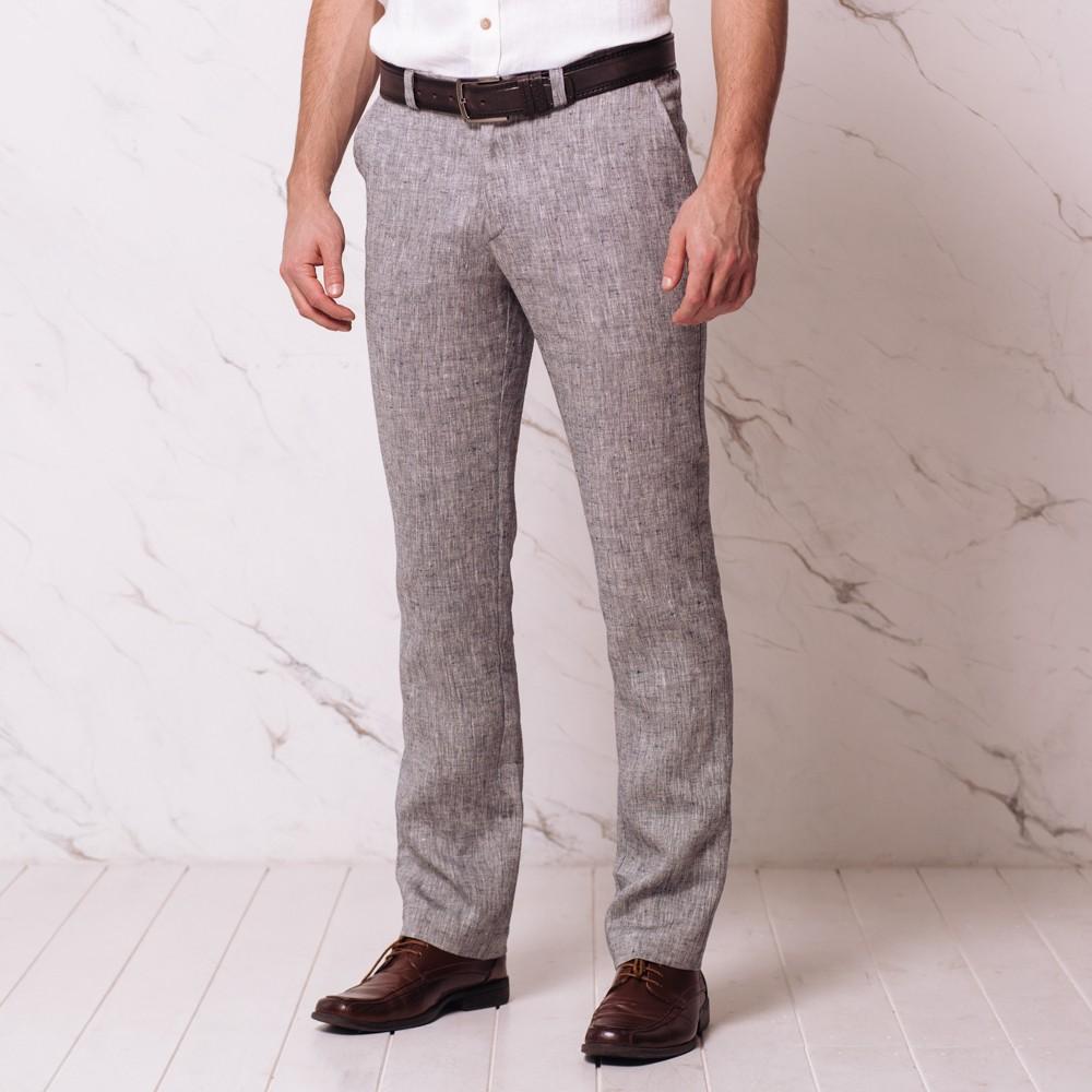 Natan linast kangast mugavad püksid must melange