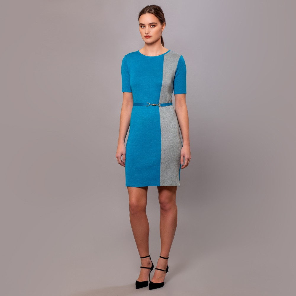 Filipa knitted 2 color dress with a belt blue lagoon