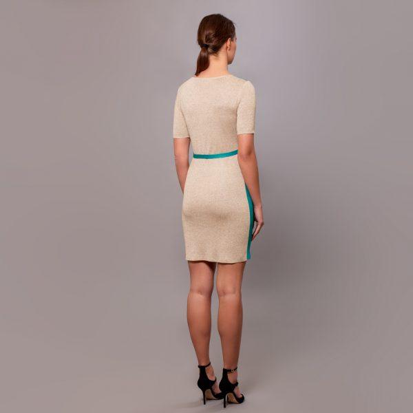 Filipa kootud kahevärviline kleit vööga hall