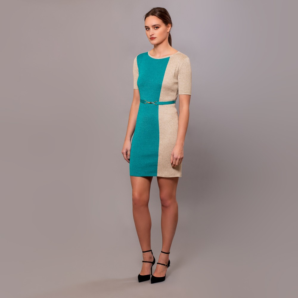 Filipa viscose knitted 2 color dress with a belt gray