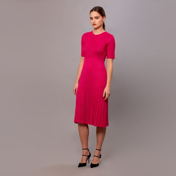 Kaisa textured knit dress fuxia