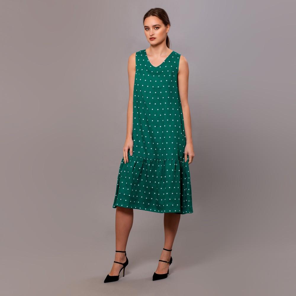 Dilja pure linen dots print dress green
