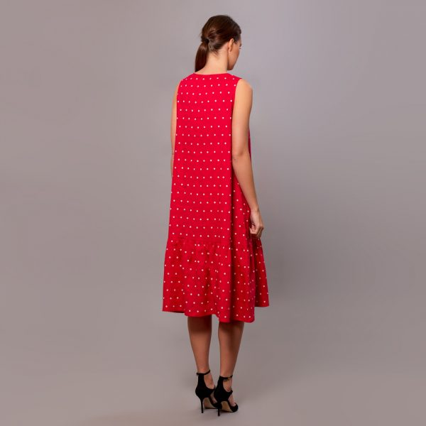 Dilja pure linen dots print dress red