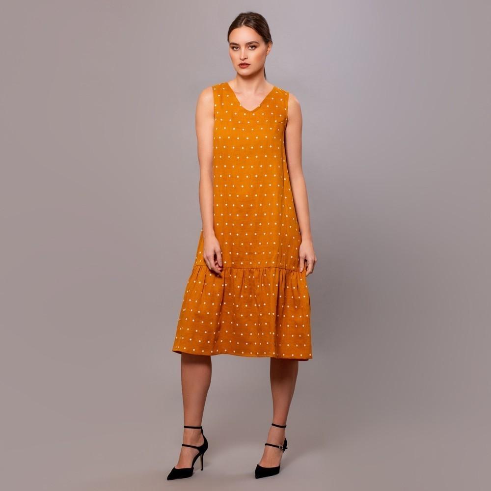 Dilja pure linen dots print dress yellow