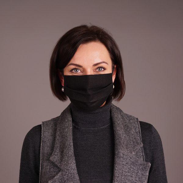 Pure linen face mask reusable black