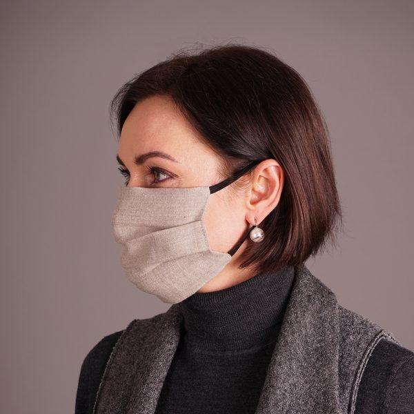 Pure natural linen face mask reusable grey