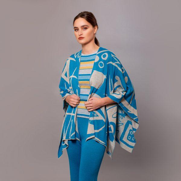 Skarlet linen with geometric pattern poncho blue lagoon