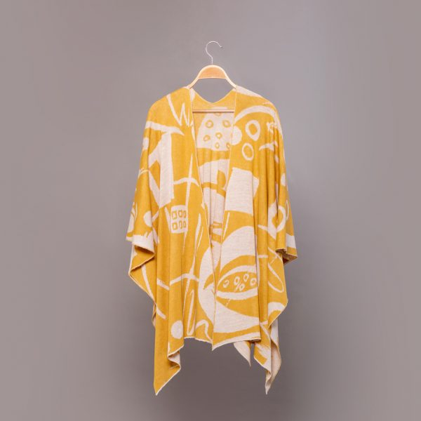 Skarlet  linen  with geometric pattern poncho yellow