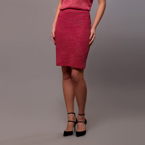 Olivia textured knit linen skirt fuxia