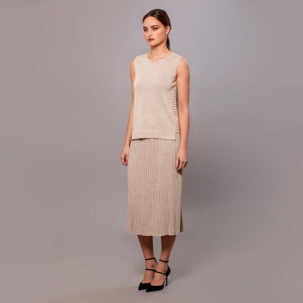 Linja юбка плиссе цвета натуральный серый