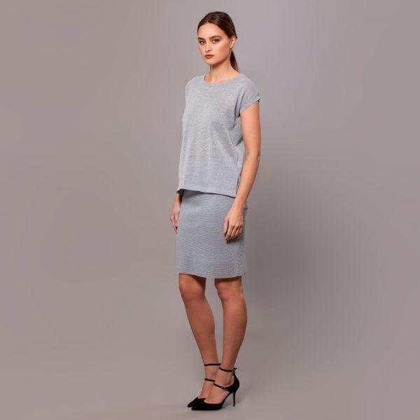 Olivia textured knit linen skirt mint