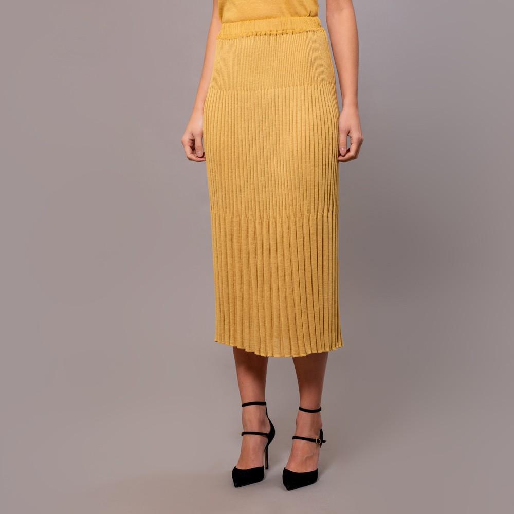 Meia textured knit skirt yellow gold
