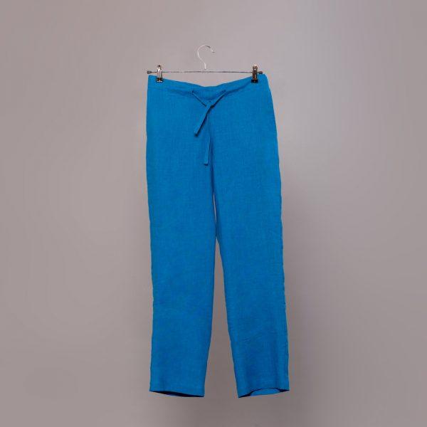 Marine льняные брюки на шнурке цвета голубая лагуна