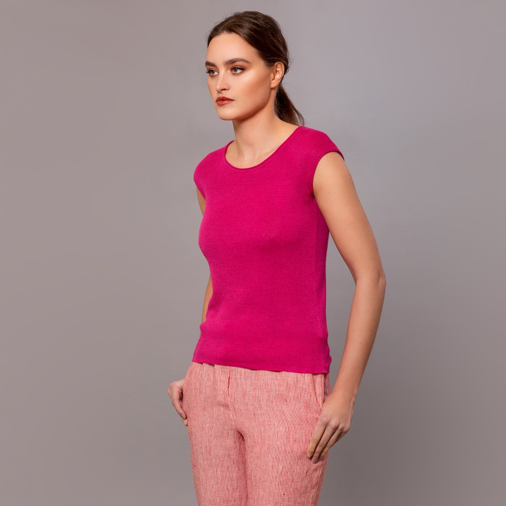 Merta sleevless knit top fuxia