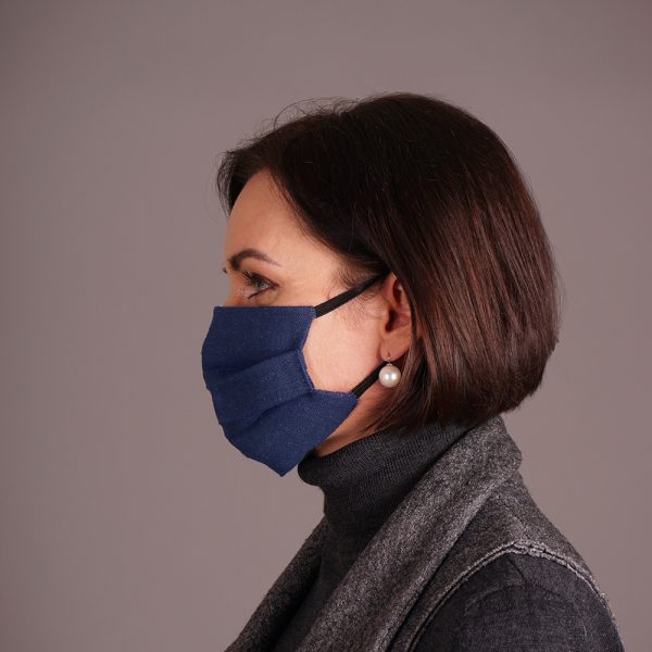 Pure linen face mask reusable blue