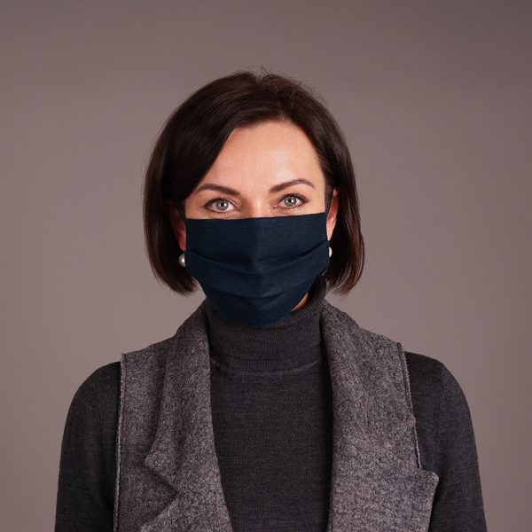 Pure linen face mask reusable Dark blue