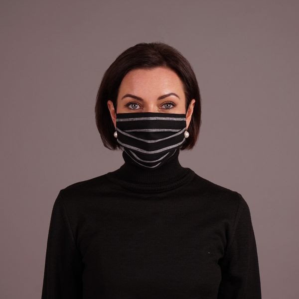 Black linen reusable mask with stripes