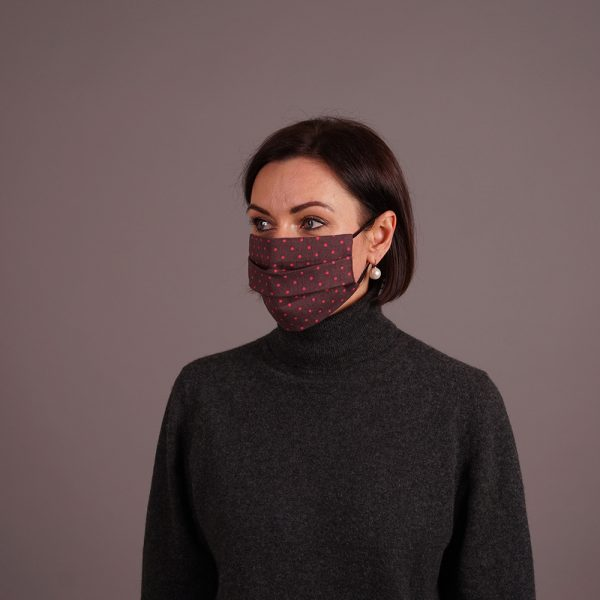 Pure linen reusable mask dots print brown