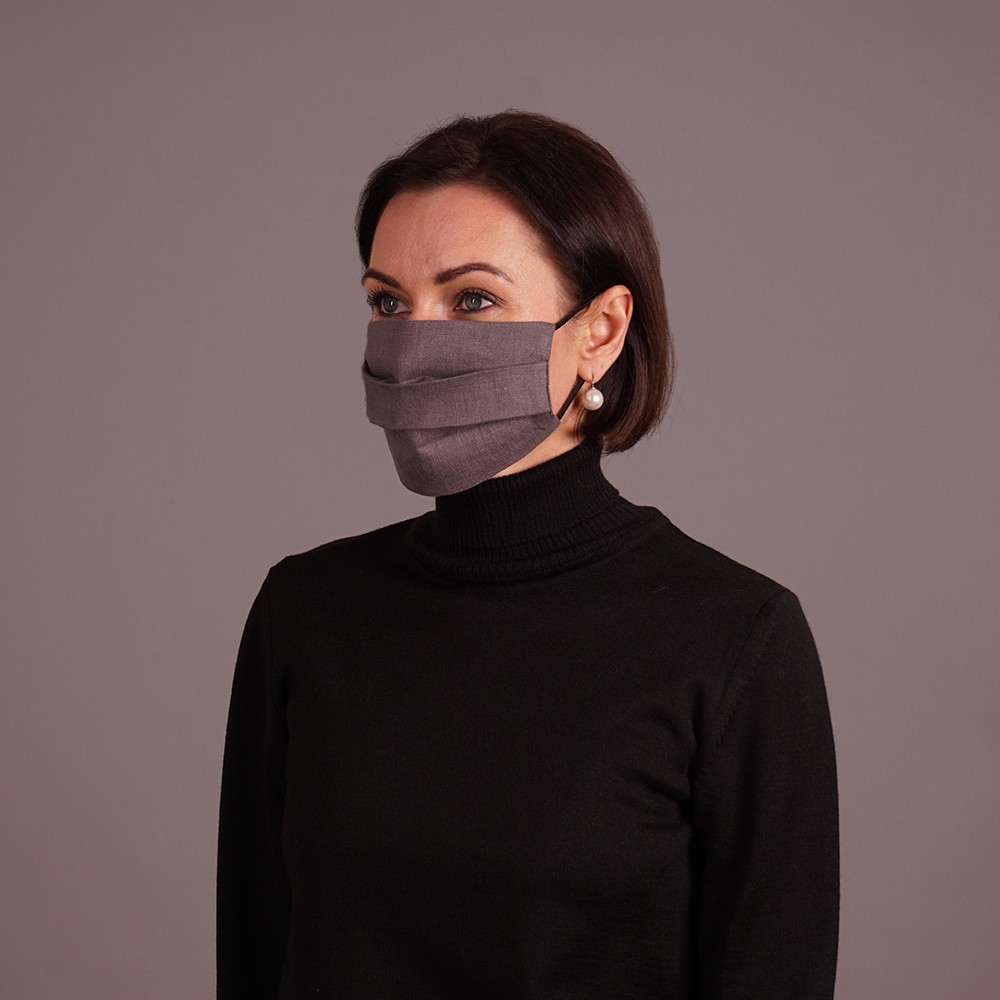 Pure linen face mask reusable brown