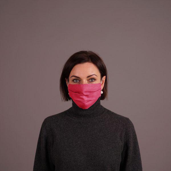Pure linen face mask reusable fuxia