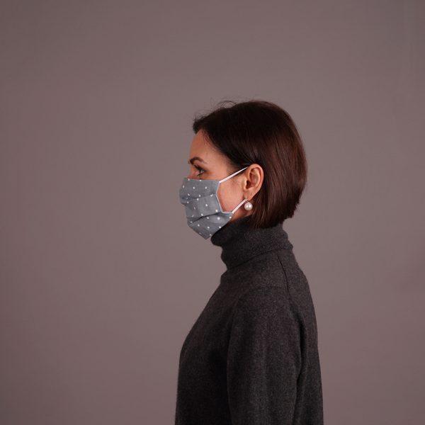 Pure linen reusable mint green mask dots print