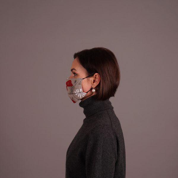 Pure linen reusable mask flowers print natural grey