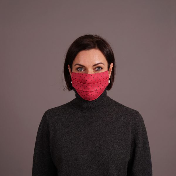 Pure linen reusable mask dots print pink