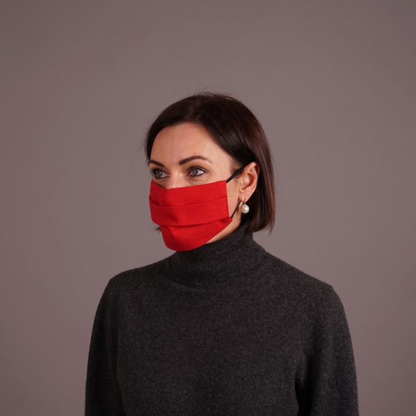 Pure linen face mask reusable red
