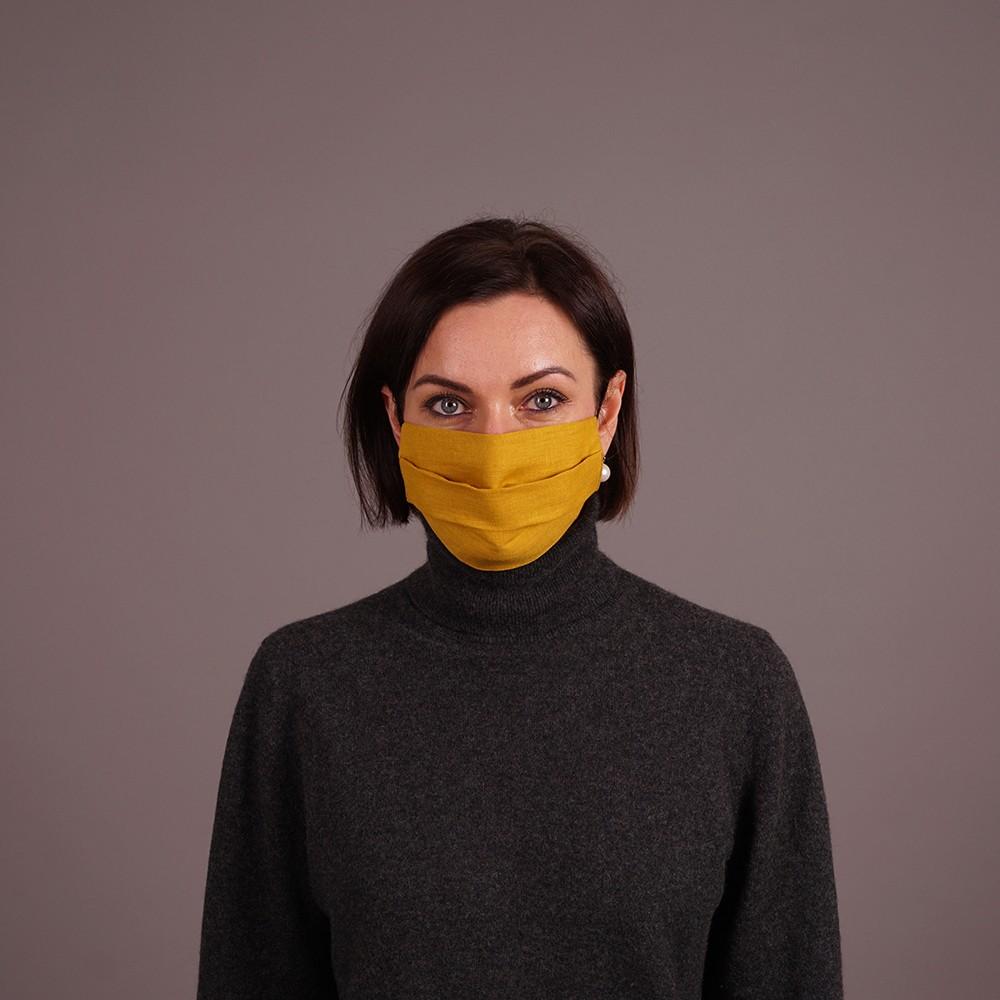 Pure linen face mask reusable yellow