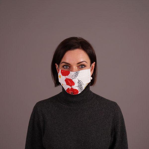Pure linen reusable mask flowers print white