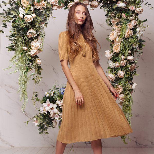 Kaisa textured knit dress yellow