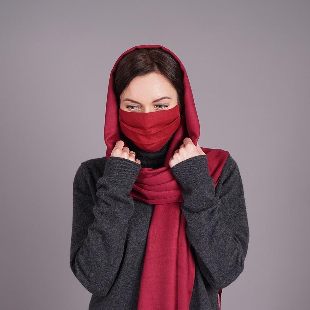 Burgundy pashmina shawl and mask set