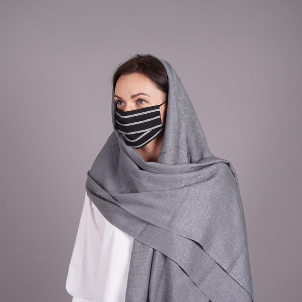 Gray pashmina shawl and mask with gray stripes set