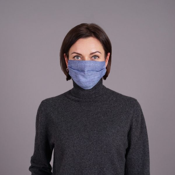 Pure linen face mask reusable blue jeans