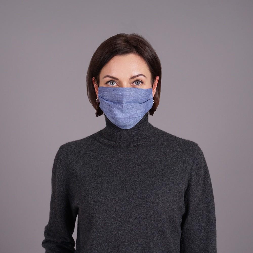 Pure linen face mask reusable blue jeans