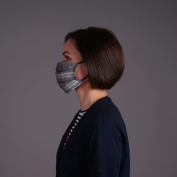 Black and white linen reusable mask checkered
